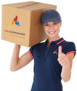 aaa woman with box